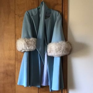 Vintage powder blue Russian coat with fur detail